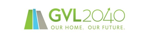 Logo with words saying GVL2040 - Our Home, Our Future