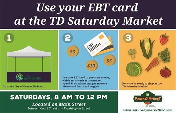 Banner ad that says to use your EBT card at the TD Saturday Market, every Saturday this summer in downtown Greenville