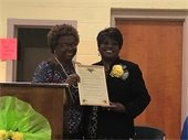Delores Durham recognized for her work as the Nicholtown Neighborhood Association President.