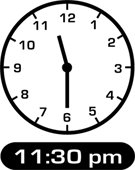 Clock showing 11:30 p.m.
