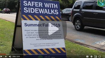 Safer with Sidewalk sign placed on Cleveland Street to explain details to residents.