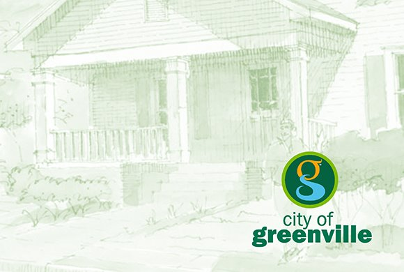 artistic image of house in monochromic green, with Greenville logo in corner