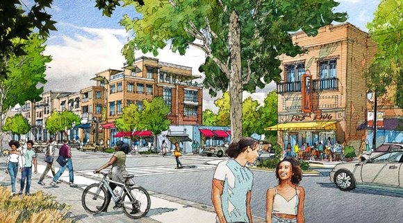 Rendering showing a possible future view of South Main Street