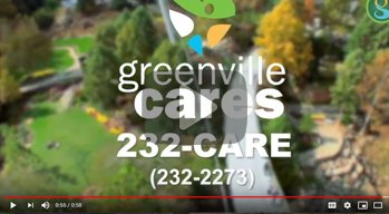 Greenville Cares logo shown on top of an aerial view of Falls Park