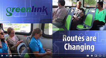Collage of bus riders with Greenlink logo and the words Routes Are Changing