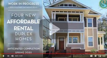 Existing affordable house with words: Four New Rental Duplex Homes