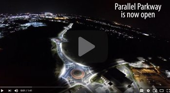 Aerial night view of Parallel Parkway