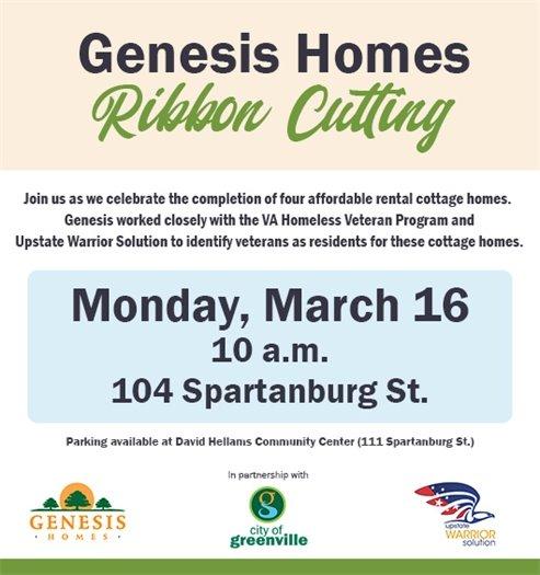Genesis Homes Ribbon Cutting March 16, 10 a.m., 104 Spartanburg St.