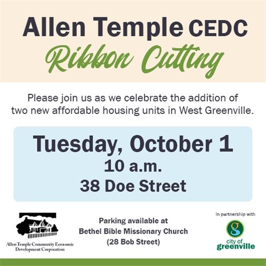 Celebration ribbon cutting for two new affordable housing units in West Greenville on October 1, 10 a.m., at 38 Doe Street