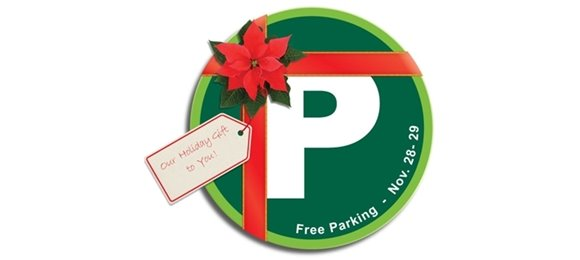 Parking logo with a red ribbon around it