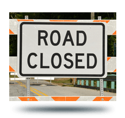 photo of a road closure sign