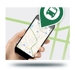Photo of hand holding phone with FindGreenlink app launched
