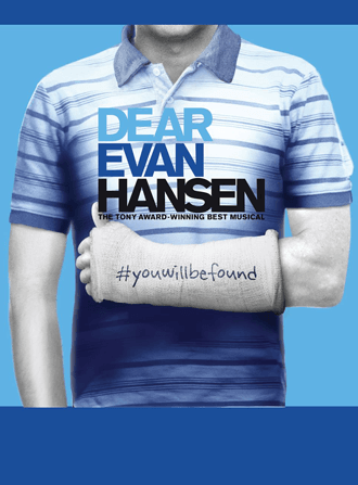 Evan Hansen playbill photo of boy with arm in a cast