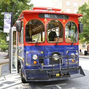 photo of a trolley in downtown Greenville