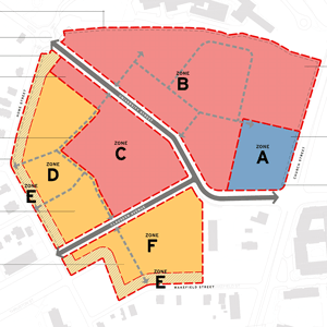 Map showing County Square redevelopment zones