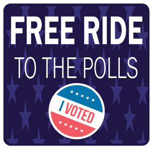 Vote sticker with words: Free Ride to the Polls