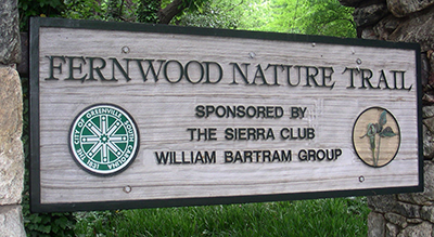 Fernwood Nature Trail entrance sign