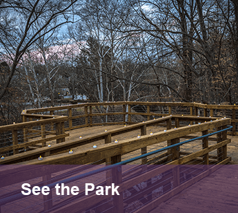 Image of the boardwalk with the text titled: See the Park